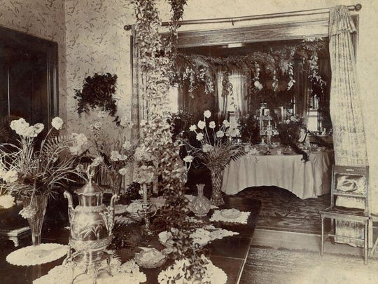 Mr. and Mrs. W.B. Maccracken owned the house at 201 E. Main St. in 1901. This photo shows the house decorated for the June wedding reception of their niece, Edith Hankes Vanderpoel.