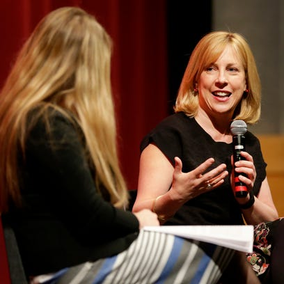 """Orphan Train"" author Christina Baker Kline speaks Monday to fans at Kaukauna High School as part of the Fox Cities Book Festival's opening day."