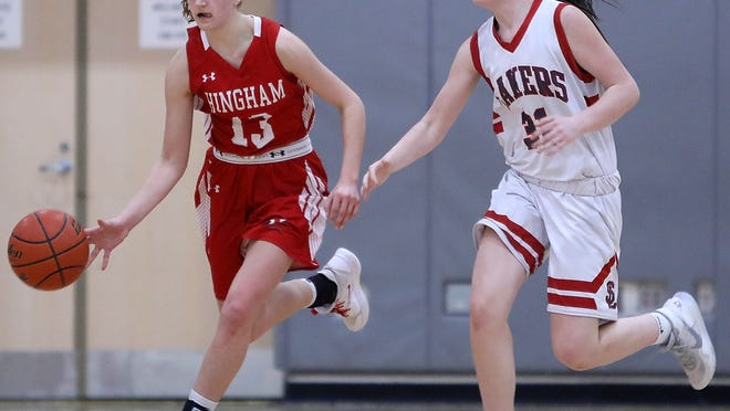 Hingham's Ryley Blasetti sprints up court with the ball while Silver Lake's Kiley O'Brien gets back on defense during fourth-quarter action of their game at Silver Lake on Tuesday, Feb. 11, 2020.