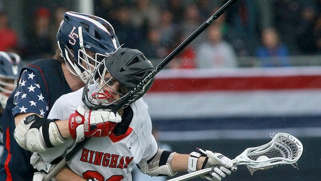 Cooper Dainton (right) was a Patriot League All-Star as a junior. He is one of 17 seniors who will be leaving the Hingham High boys lacrosse program.