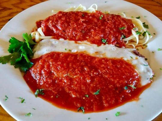 Veal Parmesan with linguini at Mama Rosina's.