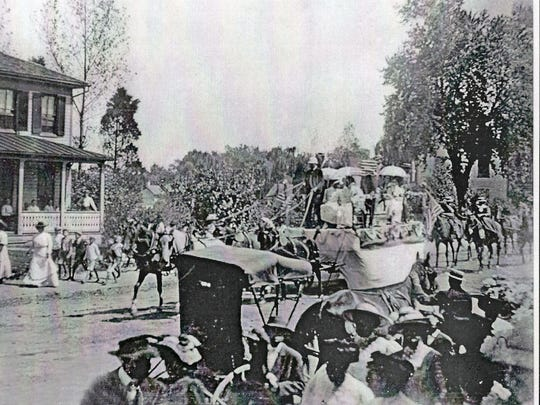 Maryland State Archives image. Taken about 1914, this photo show activities of the Emancipation Day Parade in Trappe. Historical accounts not that the parade was supported and enjoyed by white members of the community who were also friends of the parade's founder, Nathaniel Hopkins. He started the Emancipation Day program in 1867 and it has been observed each year since in the Talbot County town.