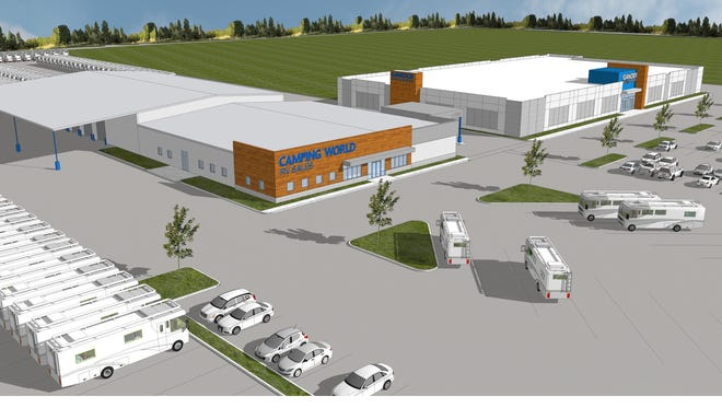 Artist rendering of the Camping World retail center proposed for Jenkins Road in Fort Pierce.