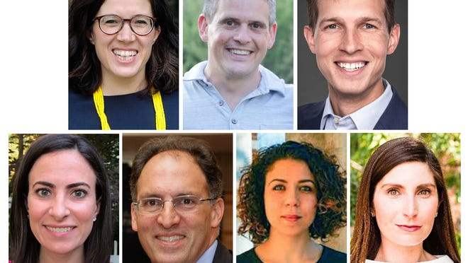Democrats have seven cadidates to choose from for the 4th Congressional District seat being vacated by Rep. Joe Kennedy III. Top, from left, Natalia Linos, Ben Sigel, Jake Auchincloss. Bottom, from left, Becky Grossman, Ala Khasei, Ihssane Leckey and Jesse Mermell.