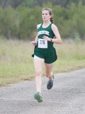 Cornerstone's Jessica Simon, shown in action earlier this season, won the girls individual title Saturday, Oct. 7, at the Concho Valley Cross Country Invitational meet at Carlsbad's Camp Williams Recreational Park.