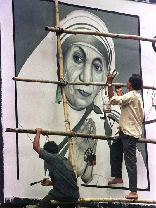 Mother Teresa mural in Calcutta, India