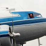 Dwayne King in the DC-3 he's bringing to Great Falls on Monday.