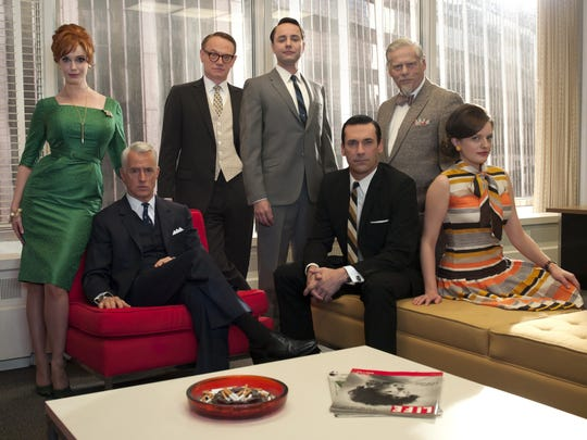 "The cast of ""Mad Men."" Joan Harris (Christina Hendricks), left, Roger Sterling (John Slattery), Lane Pryce (Jared Harris), Pete Campbell (Vincent Kartheiser), Don Draper (Jon Hamm), Bertram Cooper (Robert Morse) and Peggy Olson (Elisabeth Moss)."