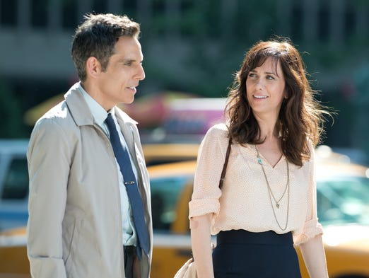 """This film image released by 20th Century Fox shows Ben Stiller, left, and Kristen Wiig in """"The Secret Life of Walter Mitty."""""""