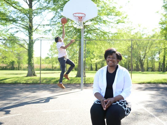 Rebekah James and her son Kevon Voyles at the basketball courts in Snow Hill, Md. Wednesday, May 9, 2018.