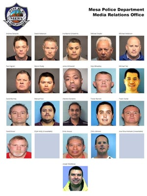 "All of the 21 men arrested in ""Operation Rocket"" are facing prostitution charges, Mesa police said."