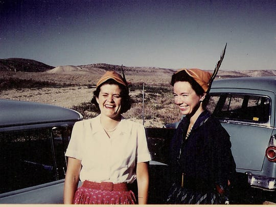 """Liz Putnam, left, enjoys a light moment with her longtime collaborator, Martha """"Marty"""" Talbot, during one of their trips out West, circa 1957."""