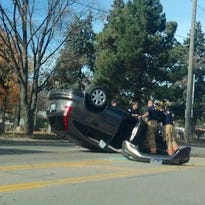 Rollover crash at 26th Street and Cliff Avenue.