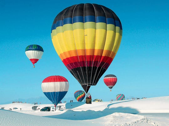 Balloons lift off, signaling the beginning of  the annual White Sands Balloon Invitational. This year, there will be a 7 p.m. launch at White Sands National Monument on Saturday, Sept. 19, and at 7 a.m. Sunday, Sept. 20 at the Ed Brabson Balloon Field in Alamogordo.