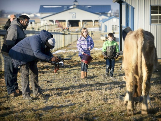 Filming for an upcoming segment on Sesame Street took place this morning, January 16, 2015, at the Ebersole farm in Lebanon County. Ava Wentling, 9, and Luke Wentling, 6, prepare to feed T-Bone for photographer Daniel Patterson and director Ian Harnarine. Michael K. Dakota - Lebanon Daily News