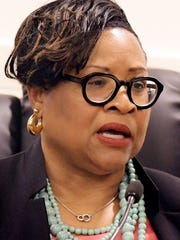 Myneca Ojo gives testimony during the second Pennsylvania Human Relations Commission hearing at York City Council Chambers Friday, June 22, 2018. The hearing was in response to allegations that she and four and other members of the Sisters in the Fairway were racially harassed during an incident at Grandview Golf Club in April. Bill Kalina photo