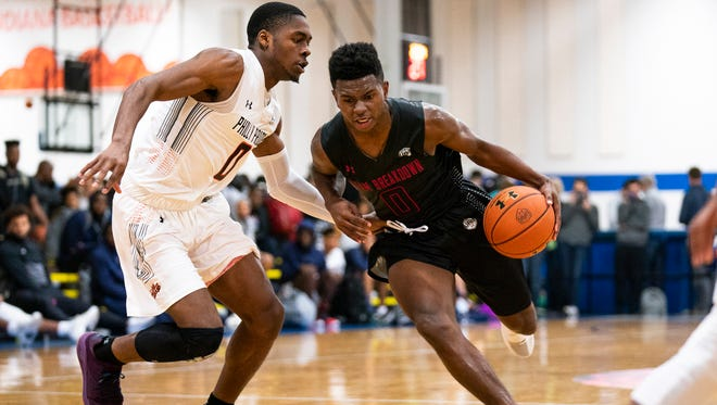 Jamal Mashburn Jr. plays for Team Breakdown at the Under Armour Association event in Indianapolis.