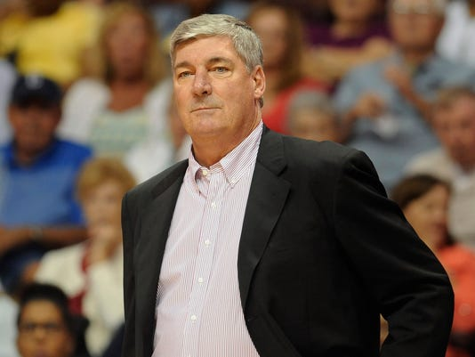 FILE - In this Aug. 14, 2015, file photo, New York Liberty head coach Bill Laimbeer watches during the first half of a WNBA basketball game, in Uncasville, Conn.  Curt Miller has led the Connecticut Sun to the top of the Eastern Conference. Now he'll get a chance to coach the East in the All-Star Game on Saturday, July 22, 2017. Miller will replace New York's Bill Laimbeer, who backed out for personal reasons. (AP Photo/Jessica Hill, File)