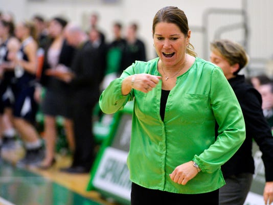 York College womens basketball coach Betsy Witman reacts after the Spartans prevented the University of Mary Washington Eagles from scoring in the final seconds, resulting in a 61-58 York College win and a continuation of their perfect season record, on Saturday, Jan. 25, 2014. Despite a back-and-forth game, York College women prolonged their perfect season record after defeating University of Mary Washington 61-58 in basketball on Saturday, Jan. 25, 2014. Chris Dunn -- Daily Record/Sunday News