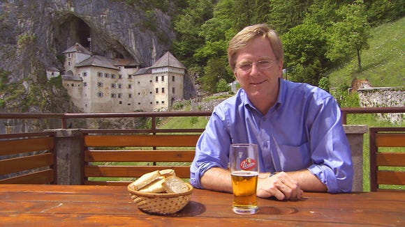 Rick Steves, travel writer and television producer, near Predjana Castle in Slovenia.