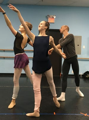 "Ballet Vero Beach's next performance is ""All Rodriguez,"" dedicated to its ballet master Camilo Rodriguez. The program includes only four dancers Alyssa Grimsley (far left), Alexandra Hoffman, Matthew Carter and Rodriguez (not pictured.)"