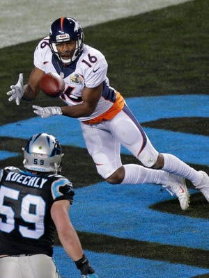 Denver Broncos' receiver Bennie Fowler catches a two-point conversion from Peyton Manning late in the fourth quarter of Super Bowl 50 Sunday in Santa Clara, Calif.