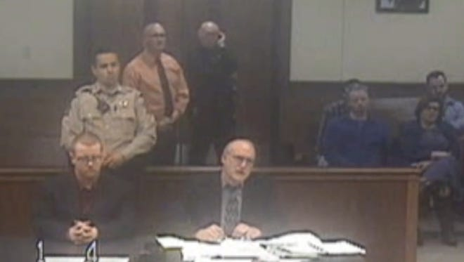 A screenshot of the video of Marshall County shooting defendant Gabe Parker's arraignment on Feb. 16, 2018.