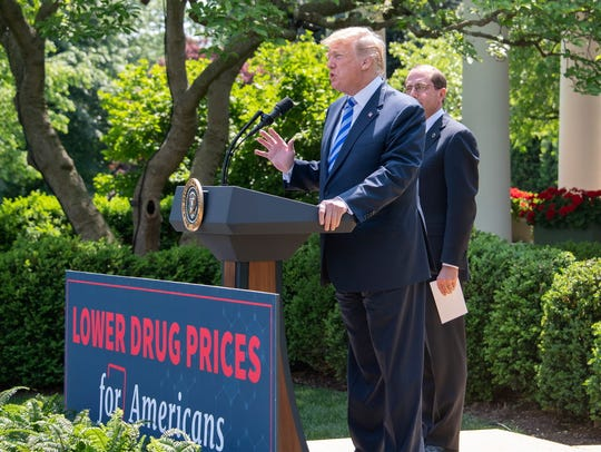 President Donald Trump talks about lowering prescription