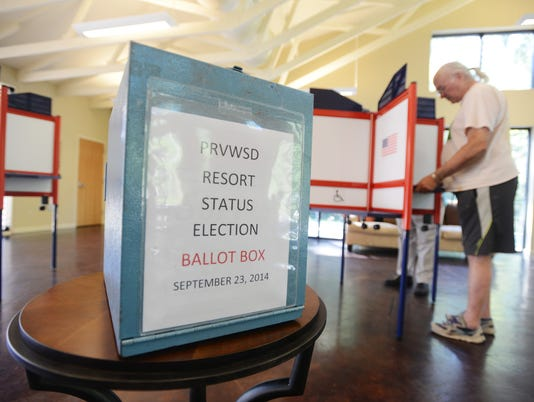 A voter voted in a 2014 resort status referendum for reservoir land.