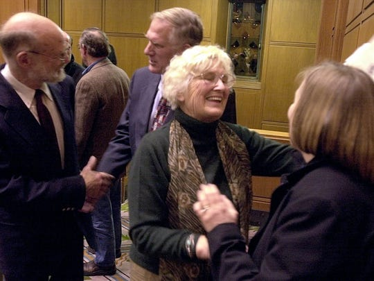 Pat Straub shares a light moment at the conclusion of a memorial service of her husbabnd, Gov. Bob Straub, in the House Chambers on Dec. 18, 2002. Pat Straub died on Saturday, Sept. 24, 2016.