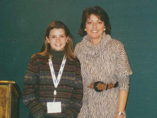 A young Danica Patrick, left, with female racing pioneer