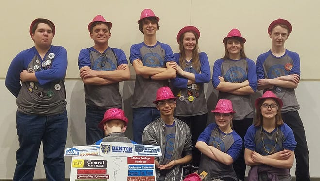Benton's robotics team includes, in front: Cameron Clemann, Spencer Sahu, Ashlynn VanGorp and Sarah Mishmash. In back are Thomas Wilson, Jaired Lyons, Grant Gilbaugh, Amber Rohlena, Elizabeth Stoll and Timmy Hall.