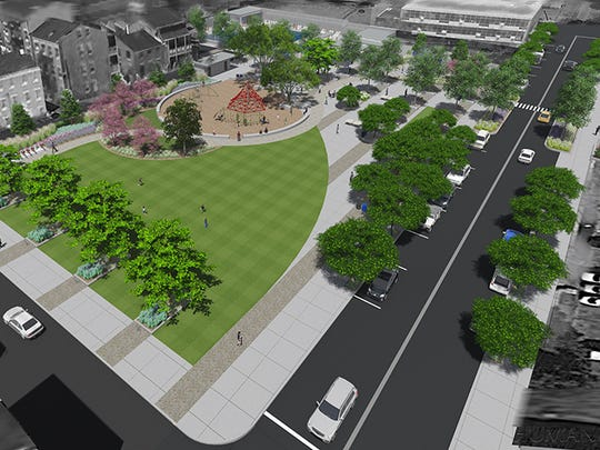 A rendering of the view of Ziegler Park from the southeast corner at Sycamore and 13th streets.