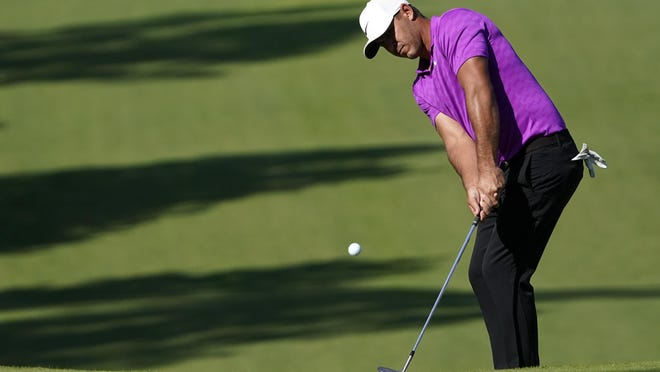 Brooks Koepka chipped in on the seventh green for birdie Sunday during the final round of the Masters Tournament.