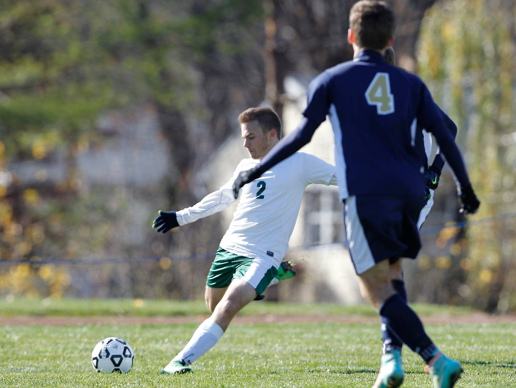Solomon Schechter's Noam Goldberg (2) takes a shot to their only goal during their 9-1 loss to Notre Dame in the NYSPHSAA boys class C soccer final at Middletown High School on Sunday, Nov. 15, 2015.