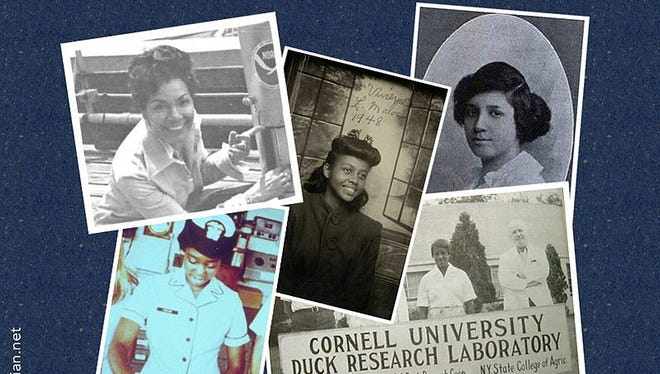 Montage of images from Wikimedia Commons: June Bacon-Bercey (top left), Vivienne Malone-Mayes (center), Euphemia Lofton Haynes (top right), Jessie Isabelle Price (bottom right), then Ensign, Evelyn J. Fields (bottom left).