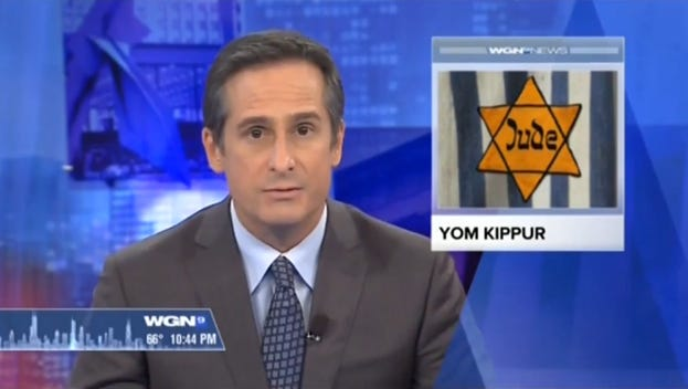 As Chicago WGN anchor Tom Negovan reports a story on Yom Kippur, the holiest day in the Jewish year, a Nazi-era symbol is used to illustrate the segment.