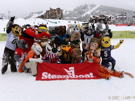 Mascots take a group photo at the Mascot Stampede in Steamboat Springs, Colo.