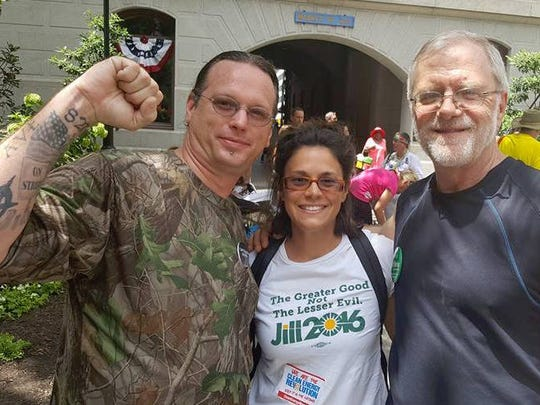 From left: 15 Now NJ co-founder Brian Powers, Green Party of New Jersey Chair Julie Saporito-Acuña and former Green Party candidate for governor of New York Howie Hawkins at the March for a Clean Energy Revolution on July 24 in Philadelphia.