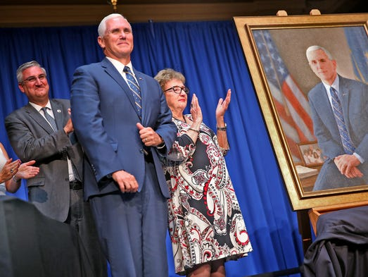 Pence's official portrait as governor reflects Christian ...