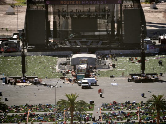 Debris is strewn through the scene of the mass shooting at the Route 91 Harvest music festival near the Mandalay Bay resort and casino on the Las Vegas Strip in Las Vegas on Oct. 2.