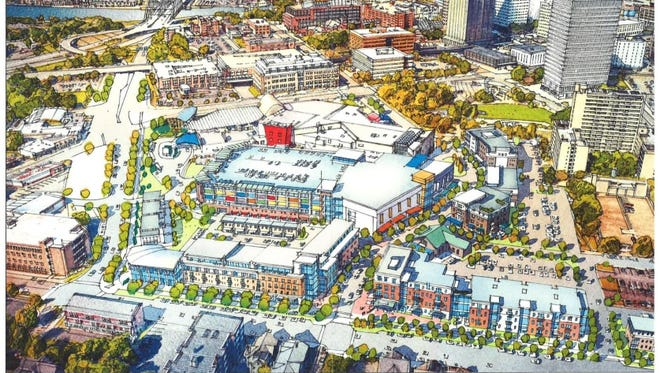 A view of Strong Museum of Play and its development partners' Inner Loop East proposal looking west.