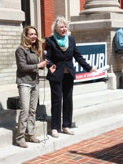 House of Delegates candidates Angela Lynn and Ellen Arthur on the steps of the Augusta County Circuit Courthouse during the April 2 kickoff for Arthur's campaign.