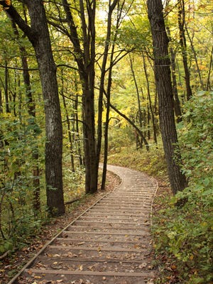 It's 266 steps up the hill to the Parnell Tower, then another 96 up the tower for panoramic views of the surrounding Kettle Moraine State Forest.
