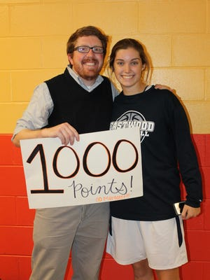 Eastwood's Margaret Rhodes reached the 1,000-point plateau Saturday.