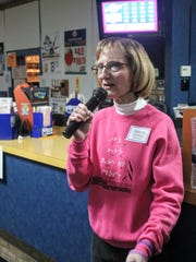 Seedlings founder Debra Bonde speaks before the bowling