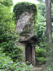 A stone tower that was built in the Irish tradition at the Savage Garden.