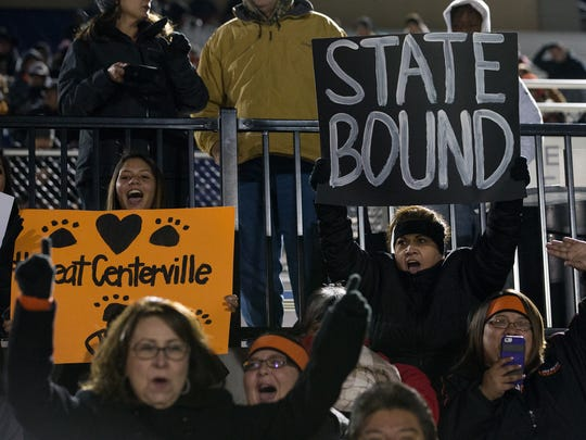 Refugio fans cheer in the stands during the Class 2A Division I state semifinal game against Centerville at Rattler Stadium in San Marcos on Friday, Dec. 9, 2016.
