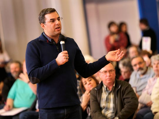 U.S. Rep. Justin Amash holds a town hall meeting in Battle Creek in February 2017.
