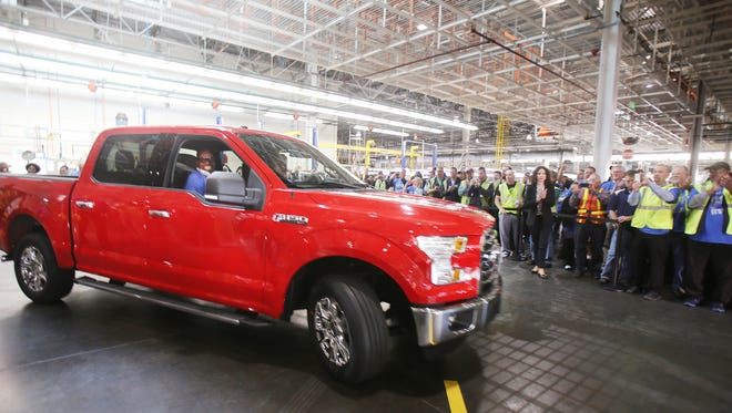 The  2015 Ford F-150 when it  was launched at the Dearborn Truck plant on Nov. 11, 2014